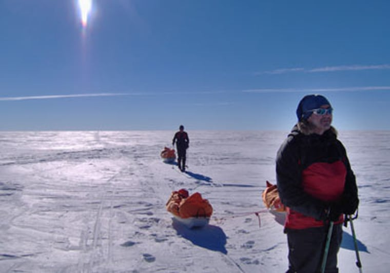 We each pulled a sled weighing 110 pounds, difficult in the powder-dry snow near the Pole. ...