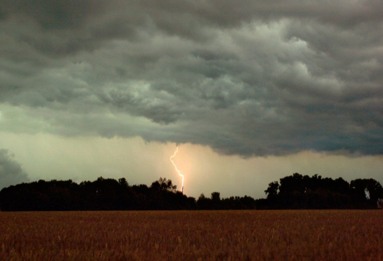 This lightningin Huron Township, Ohio, on Wednesday was part of a storm system that knocked out power and flooded roads.