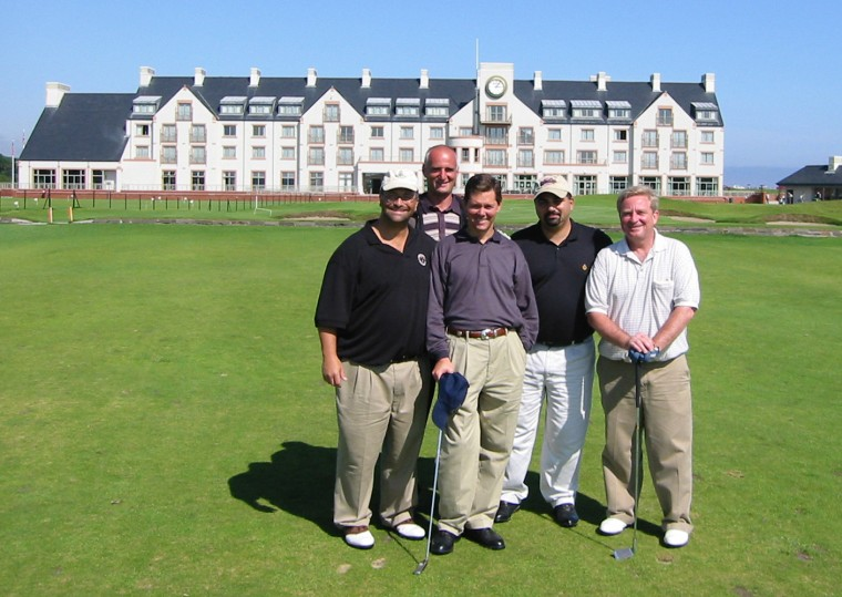 (Left to right, front row) Jack Abramoff, Ralph Reed, Rep. Bob Ney, R-OH, (back row, left to right) unidentified Scottish aide and David H. Safavian on a golf trip to St. Andrews in Scotland.