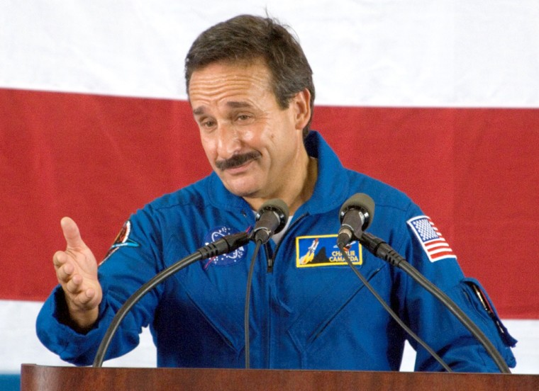 Sources say that Charles Camarda, shown here at a ceremony after his flight on the shuttle Discovery last year, has been reassigned from a top engineering management position at NASA's Johnson Space Center.