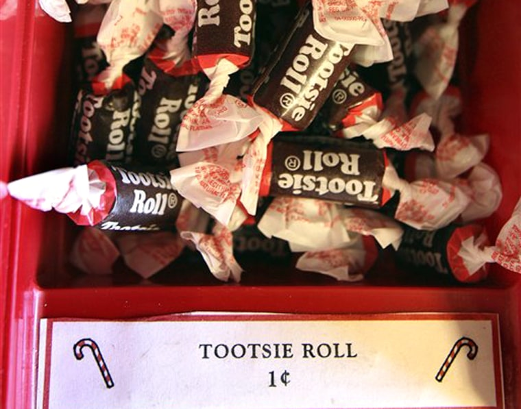 Tootsie Rolls on display at the Plimouth Candy Co. in Plymouth, Mass. It's one of the few things you can buy for a penny these days.