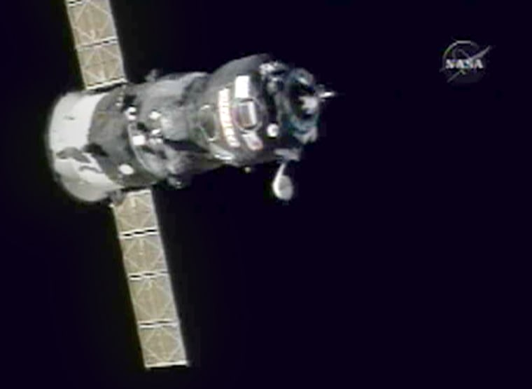 The Russian-built Progress 22 spacecraft closes in on the international space station Monday.