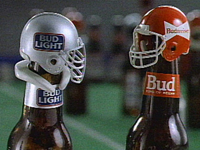 This undated photo released by Anheuser-Busch shows Bud Bowl bottles that were part of the 1989 Anheuser-Busch Cos. exclusive sponsorship for the Super Bowl. The world's largest brewer will continue as the sponsor for the Super Bowl through 2012 and will be adding other sports.