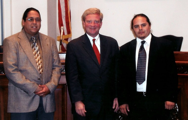 Rep. Bob Ney, R-Ohio, with members of the Tigua of El Paso in a photo taken in August 2002.