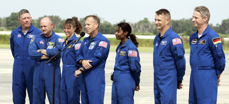 The crew of STS-121 Space Shuttle Discov