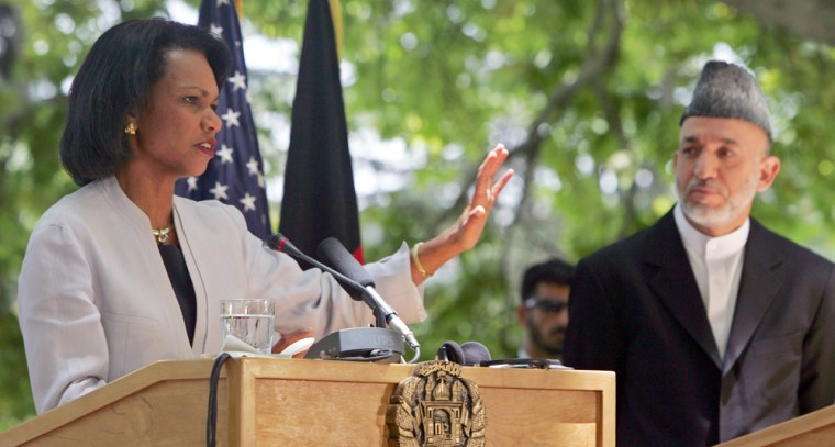US Secretary of State Rice speaks as Afghan President Karzai looks on during news conference in Kabu
