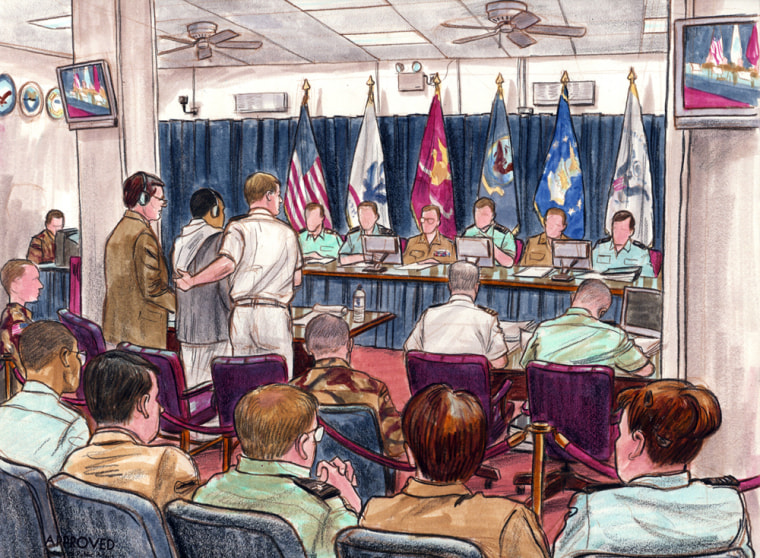 This court sketch shows the trial ofSalim Ahmed Hamdan, who facescharges of conspiring against U.S. citizens and whose casewas the center ofThursday's Supreme Court ruling.