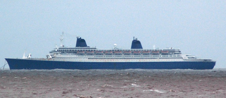 Former cruise liner S. S. Norway is berthed 73 nautical miles off Alang