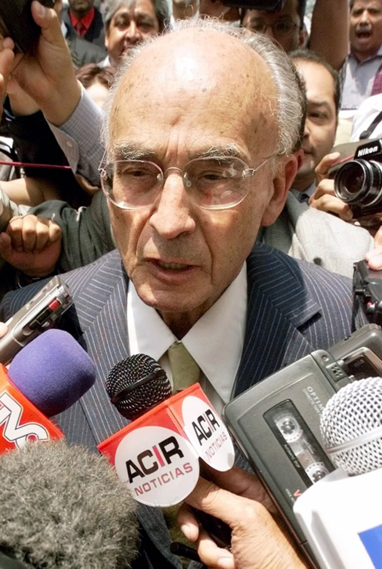 File photo of former Mexican president Echeverria speaking to media in Mexico City