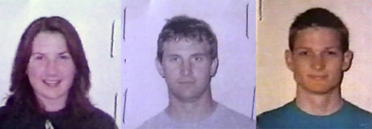 American mountaineers Kristen Yoder, left, her brother Dustin Yoder, center and Brennan Larson are shown in this combo of passport photos provided by Peruvian police.