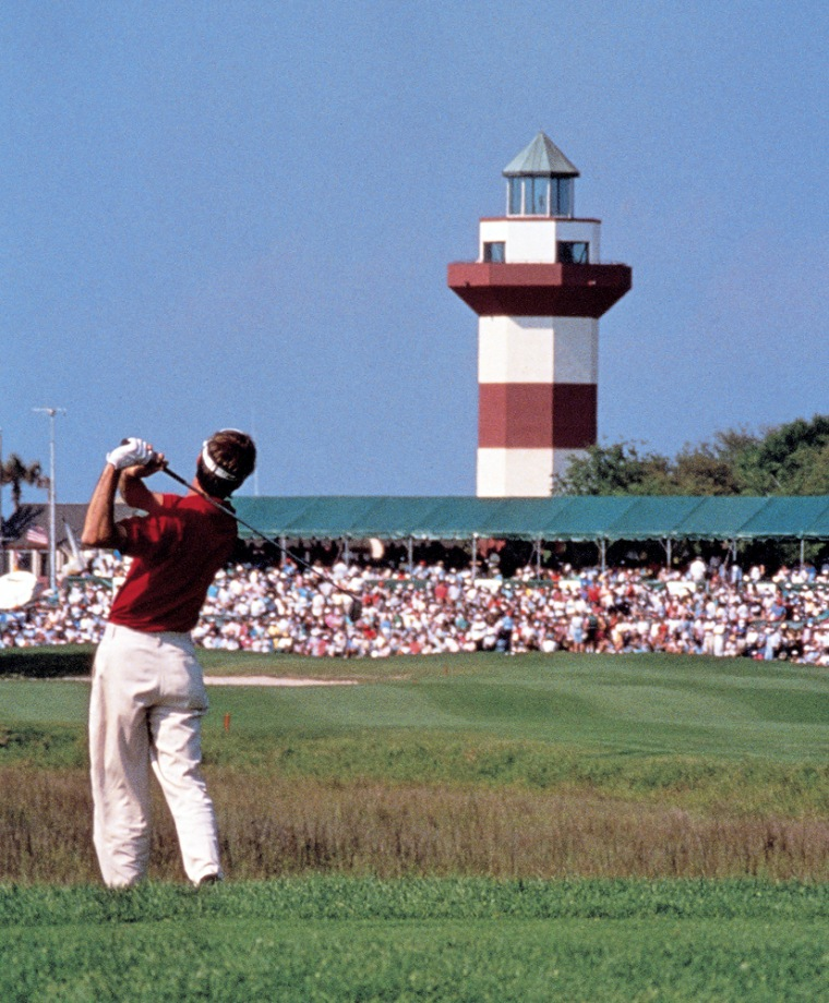 Agolfer competes in a tournament at Harbour Town Golf Course on Hilton Head Island, S.C.