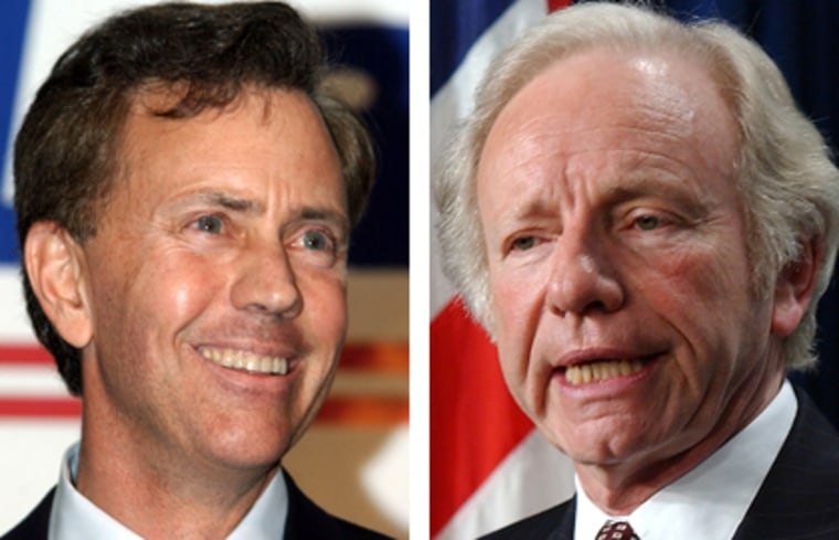 Ned Lamont (left) debated Sen. Joe Lieberman Thursday night, as the two battle for the Democratic nomination for a Senate seat from Connecticut. The Democratic primary is on Aug. 8.