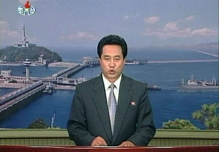 Video grab shows newsreader for North Korean official KRT state television reporting on statement from foreign ministry that North Korea had launched several missiles