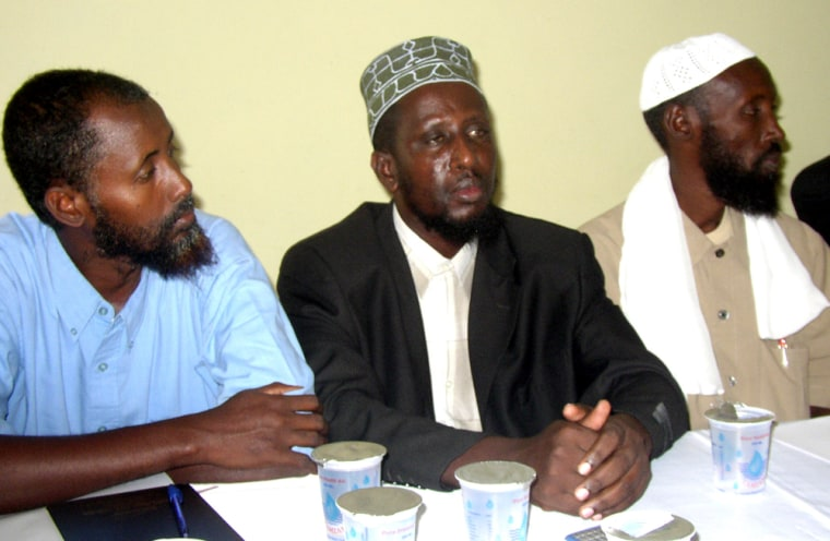 Officials from the Supreme Islamic Courts, from left, Sheikh Abdirahman Janagow and Sheikh Sharif Sheikh Abdulkadi Ali, during their meeting with officials from the AU and Arab League in Mogadishu, Somalia on Thursday.