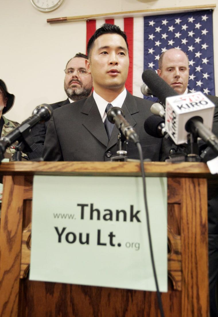 Iraq War Resister Lt. Ehren Watada Holds A News Conference