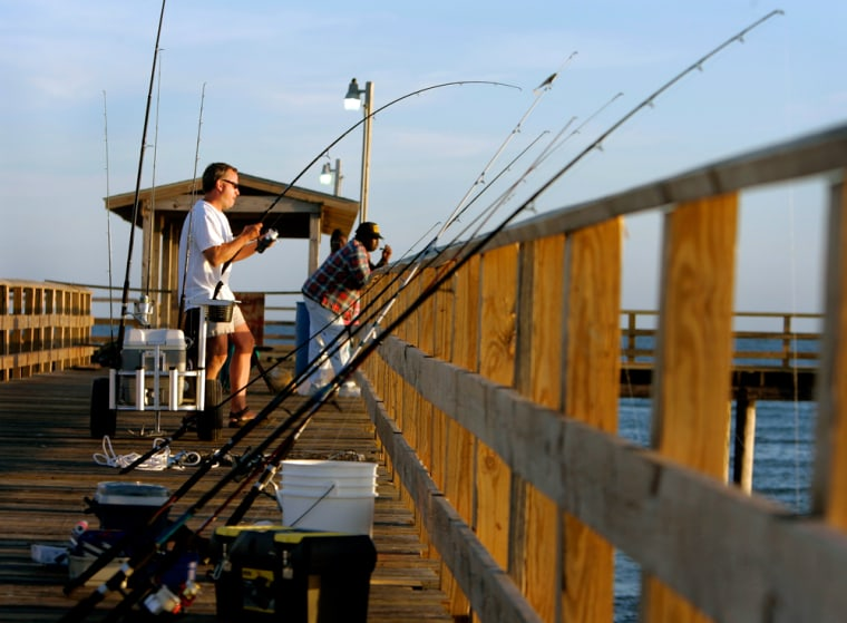 A fisherman reels in a catch on the pier in Dauphin Island, Ala. Four species in the Gulf of Mexico are still described as being overfished; greater amberjack, red grouper, red snapper and vermilion snapper.