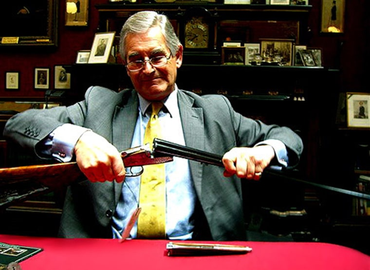 Chairman Richard Purdey, a great-great-great-grandson of the founder,holds a Purdey gun thatsell for around $90,000.
