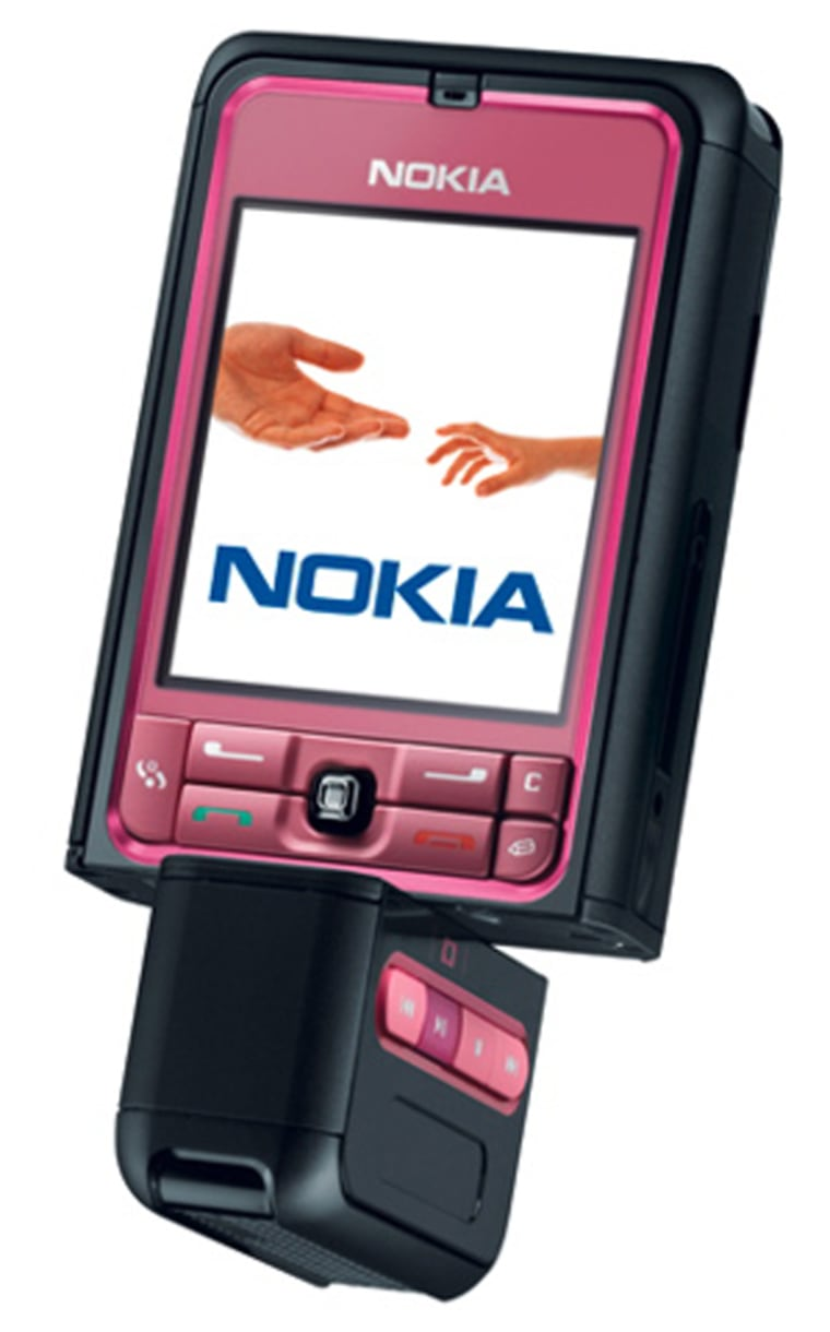 The bottom of Nokia's 3250 model pivots to accommodate different uses. In one position the numerical keyboard is in front for normal phone or messaging use. A second position puts camera controls in a convenient position, and a third position reveals music player controls.