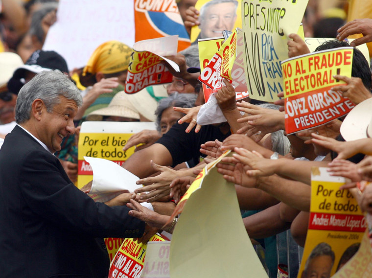 Andres Manuel Lopez Obrador attends a rally to protest election results