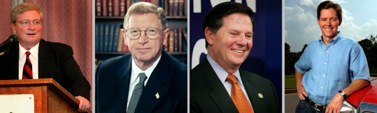 Ralph Reed (right) is among several politicians connected to Jack Abramoff, the lobbyist who pleaded guilty to corruption charges. So far, none of these candidates (from left to right): Rep. Bob Ney, R-Ohio, Sen. Conrad Burns, R-Mont. and Rep. Tom DeLay, R-Texas, have suffered a ballot-box loss as a result of their connections to Abramoff.
