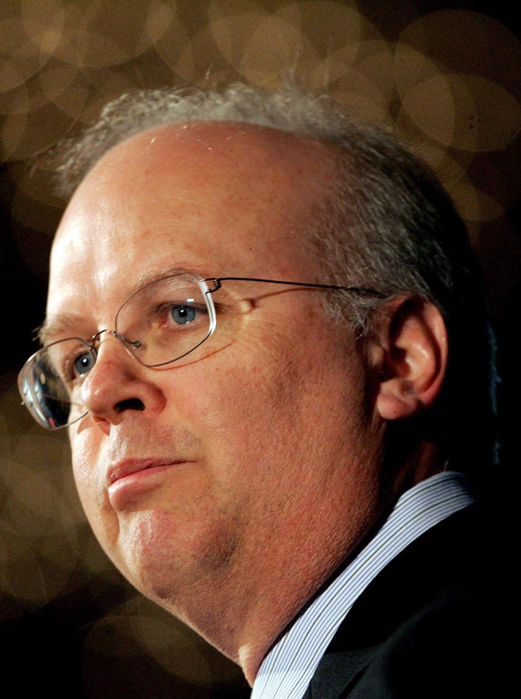US Deputy Chief of Staff Rove speaks at the New Hampshire Republican Party's annual dinner in Manchester