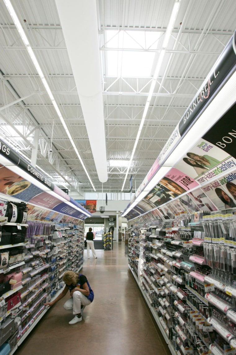 This Wal-Mart supercenter store in McKinney, Texas, was opened last year using energy efficient lighting and other environmental features.