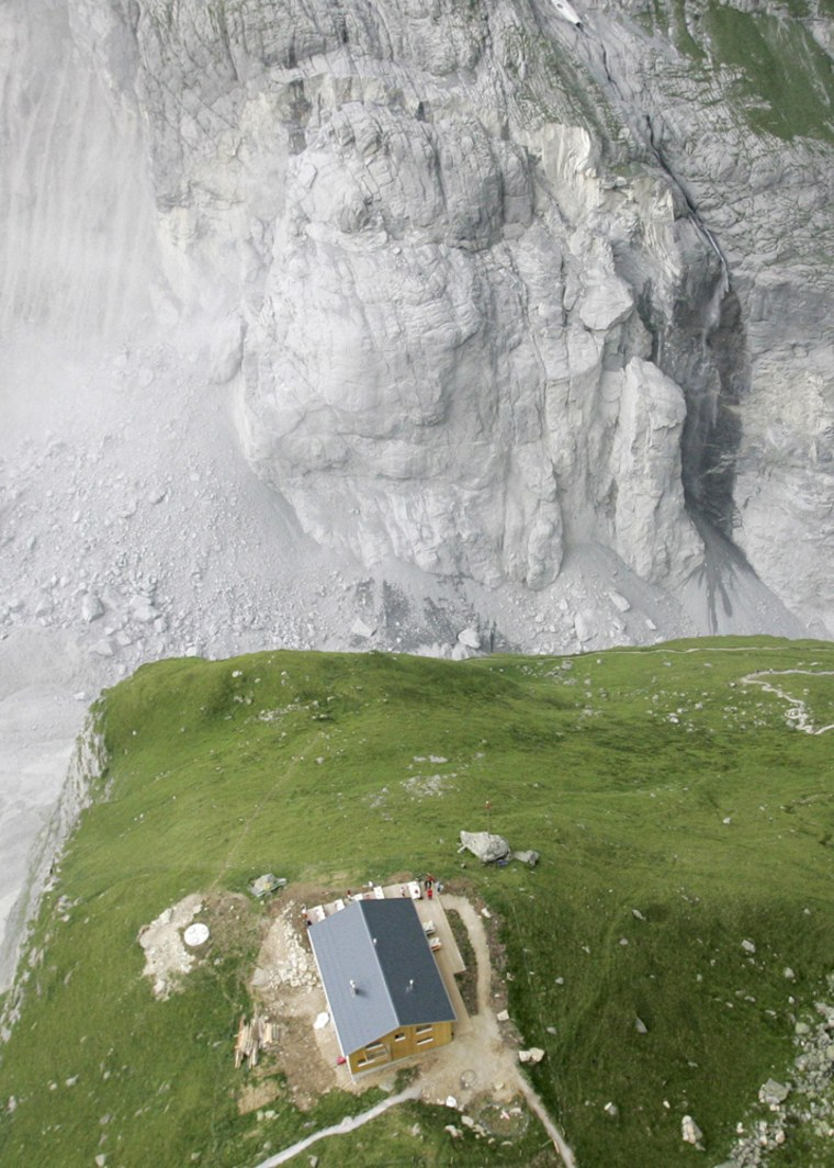 Aerial view of the slab of rock that is poised to break away from the Eiger mountain near Grindelwald in the Bernese Oberland
