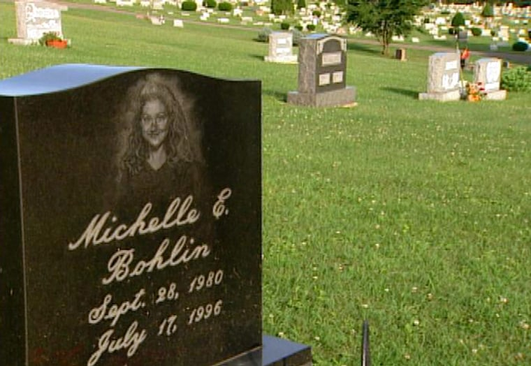 The tombstone of Michelle Bohlin, a victim of the TWA 800 crash.