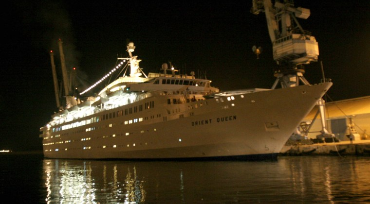 The Orient Queen cruise ship docks at Larnaca, Cyprus, early Thursday, carrying some 1,000 American evacuees from Lebanon.