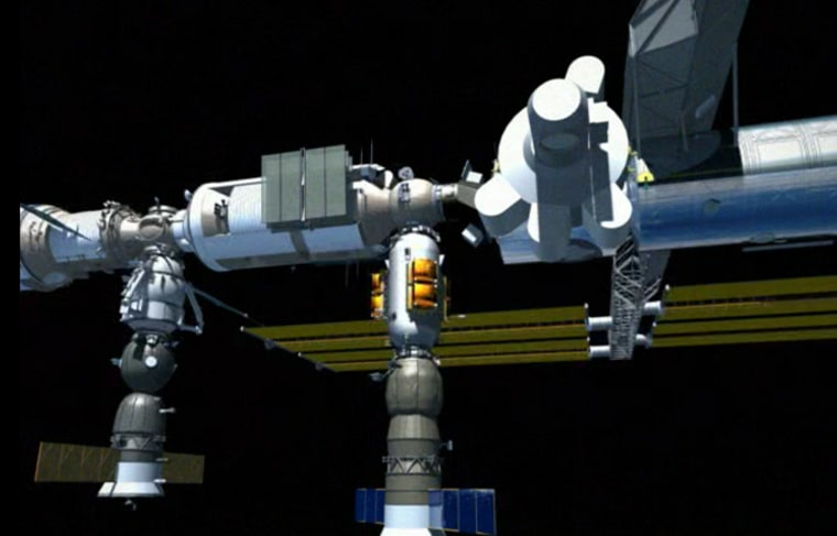Space Systems/Loral's bid for spaceship development money offers a made-in-America version of Constellation Service International's LEO Express. In this artist's conception, the LEO Express is the white-and-gold craft that is docked to the international space station with a Russian Progress cargo craft hooked beneath it.