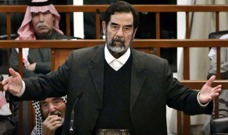 File photo of former Iraqi President Saddam Hussein speaking at his trial in Baghdad
