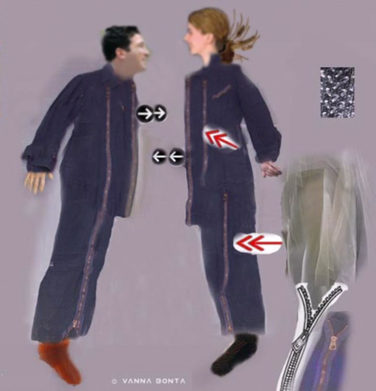"Vanna Bonta's concept for the ""2suit"" garment includes Velcro strips, zippers and diaphanous inner material that would be designed for intimacy in the near-weightless environment of space."