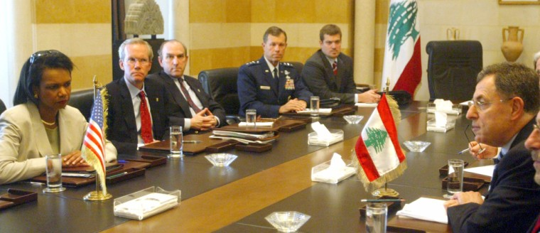 Lebanon's PM Siniora meets with US Secretary of State Rice in Beirut