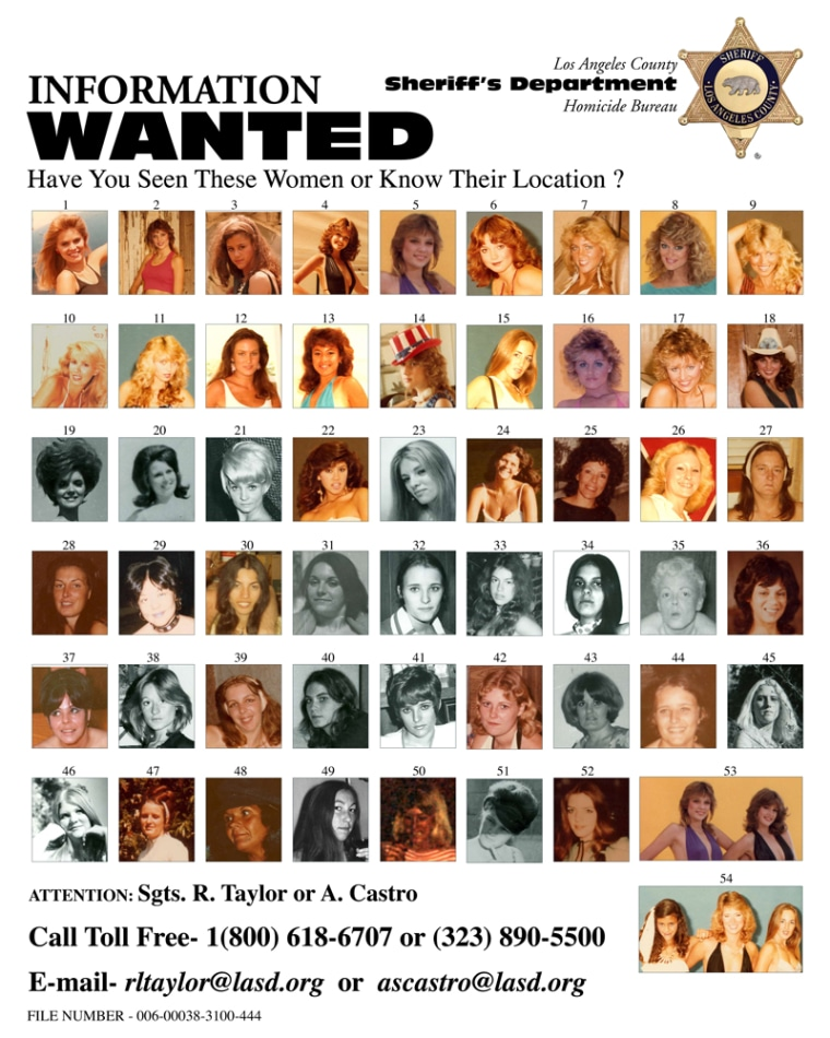 The Los Angeles County Sheriff's Department released this poster of women photographed by convicted murderer William Richard Bradford.