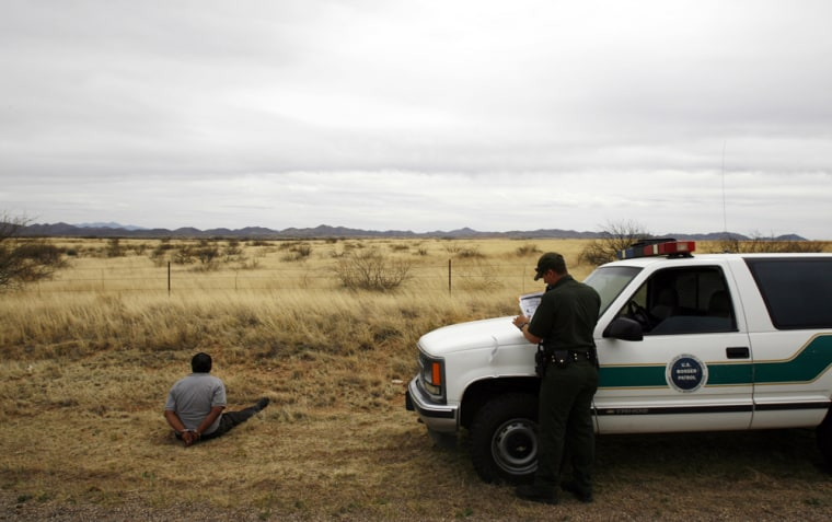 The number of illegal immigrants caught trying to sneak into the United States — such as the man arrested by the U.S. Border Patrol April 4 near Aravica, Ariz. — has declined sharply since President Bush ordered the military to help tighten the border.