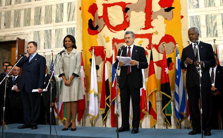 Lebanon's PM Siniora, U.S. Secretary of State Rice, Italian FM D'Alema and U.N. Secretary-General Annan attend news conference in Rome