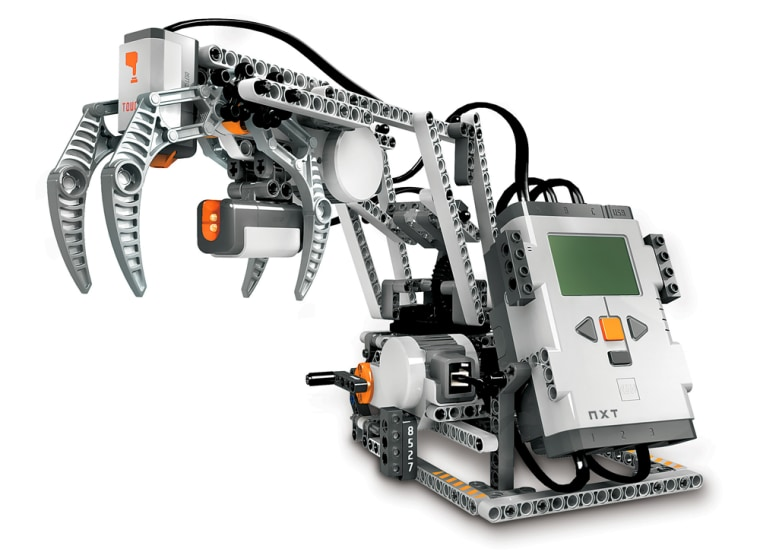 The Lego Mindstorms NXT kit, available on Aug. 1, lets you build a variety of different robots, including the RoboArm, pictured here.