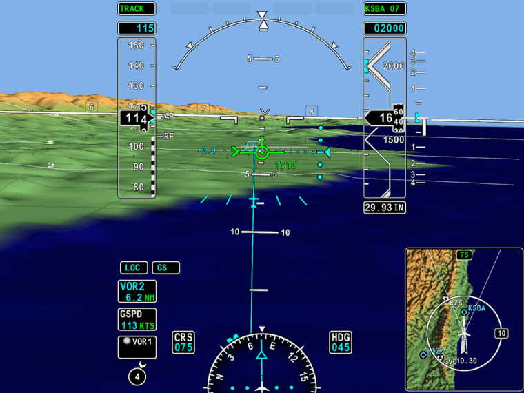A computer generated pilot's eye view is shown, which will make nail-biting blind landings in foul weather a lot less perilous, thanks to a new corporate jet technology that could also find its way into airliner cockpits.