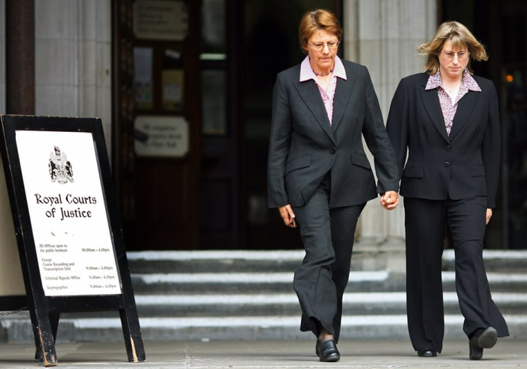 Lesbian couple Wilkinson and Kitzinger leave High Court in London