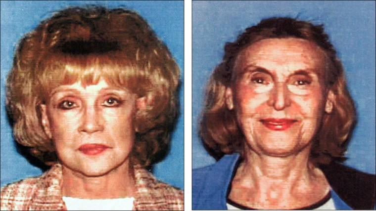 Photos released by the Los Angeles Police Department show insurance fraud suspects Helen Golay, 75, left, and Olga Rutterschmidt, 73.