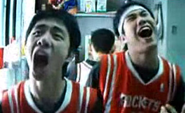 Two Chinese college students, Huang Yixin and Wei Wei, created videos of themselves in their dorm room lip-synching to Backstreet Boys hits.The clips also got the attention of a Beijing media company, which found the students a job lip-synching for a Pepsi Cola commercial.