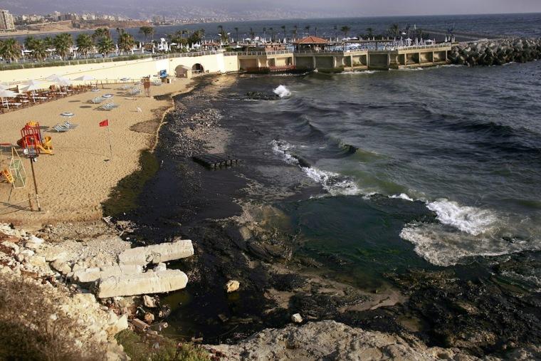 Massive Oil Spill Covers Lebanese Coast Line