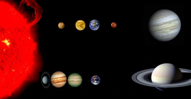 """This graphic compares our solar system (top) with a potential 55 Cancri planetary system (bottom). Our solar system has four terrestrial planets — Mercury, Venus, Earth and Mars — with Earth ina """"habitable zone"""" where conditions are right for life.Four giant planets are known to orbit 55 Cancri, but simulations indicate that an Earthlike planet could exist in that star's """"habitable zone.""""The planets' sizes are not proportional to their distances from the parent star."""