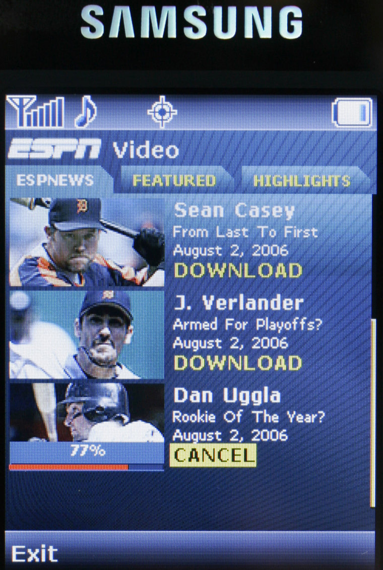 The video download screen on the new Mobile ESPN cell phone from Samsung.