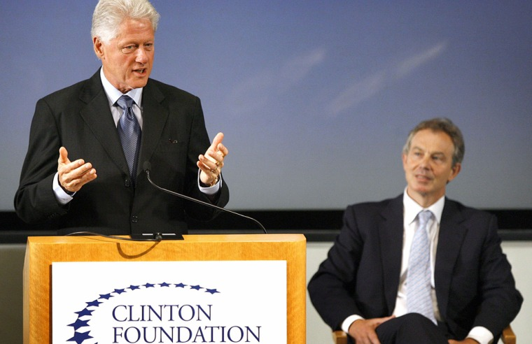 Former US President Clinton speaks at UCLA Korn Convocation Hall in Los Angeles