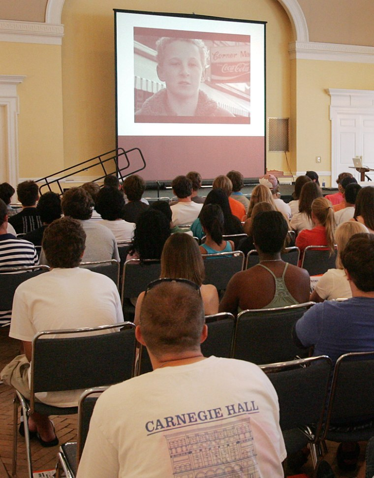 University of Virginia students watched a locally made video warning against the dangers of publishing personal information on the internet during an orientation presentation at the University of Virginia in Charlottesville, VA.