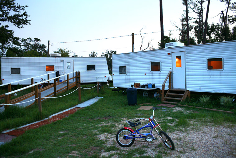 More than100,000 FEMA trailerslike these in Waveland, Miss., have been distributedalong the Gulf Coast.