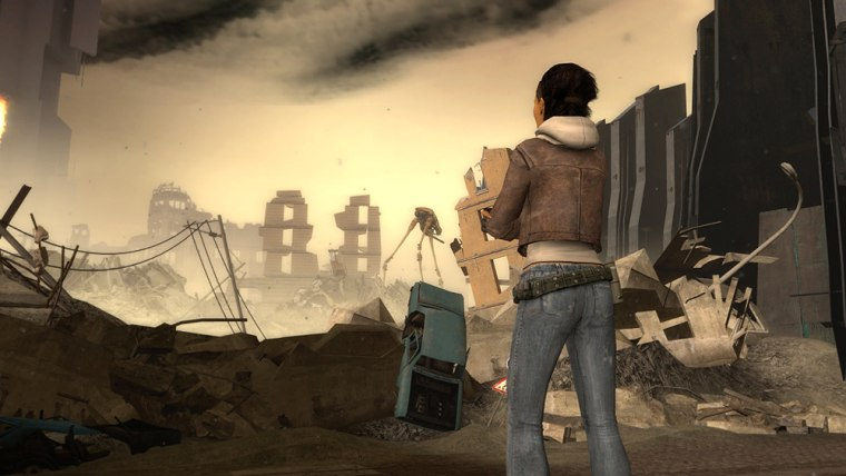 """Alyx Vance, the heroine in Valve Software's """"Half-Life 2: Episode One,"""" surveys the destroyed City 17. Unlike full versions of video games, which can take months to complete, episodic games run about four hours."""