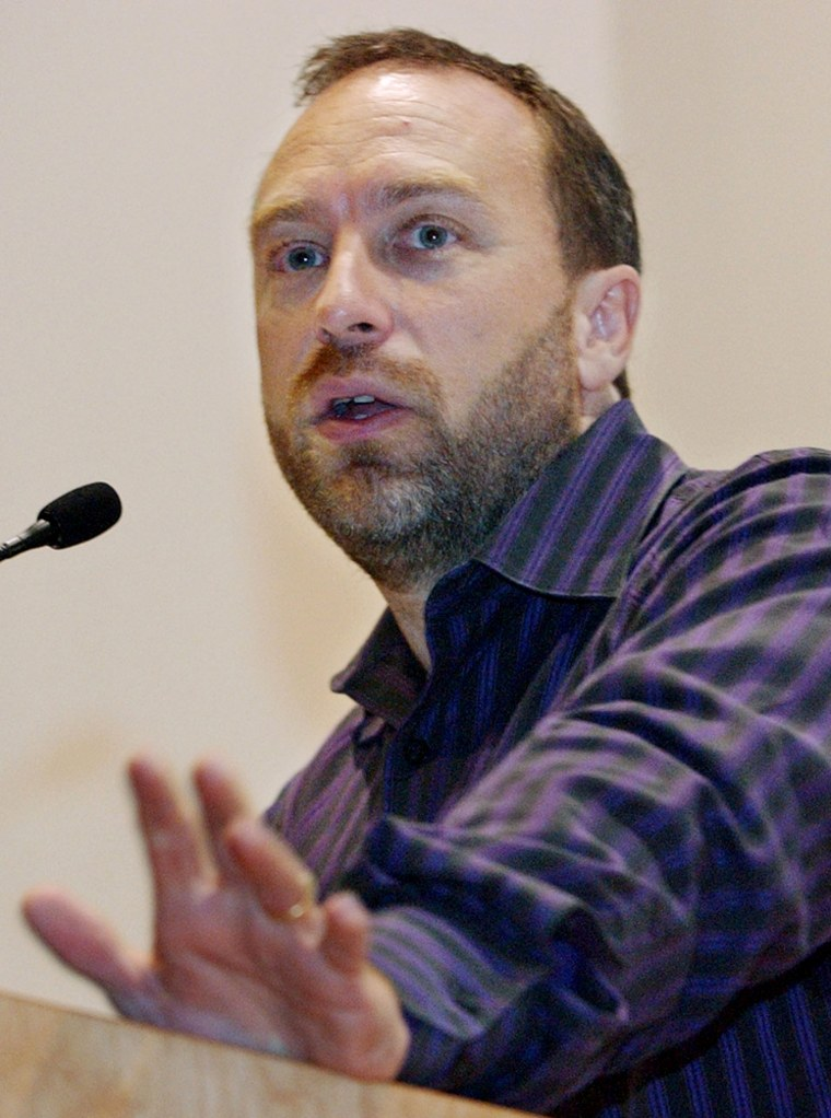 Jimmy Wales, founder of Wikipedia and Wikimedia, speaks during a Wikimani 2006 conference at Harvard University in Cambridge, Mass.