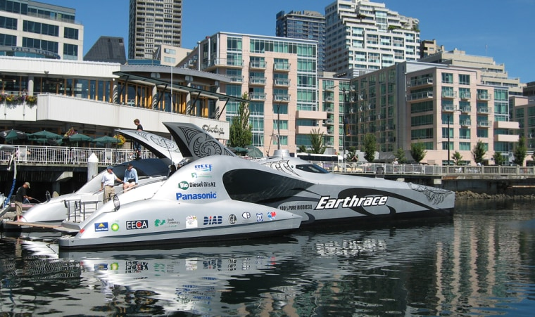 This $2.5 million powerboat, seen here in Seattle, runs on biodiesel, a fuel made from vegetable or animal oil. Its creator hopes to set the world record for fastest powerboat trip around the globe.